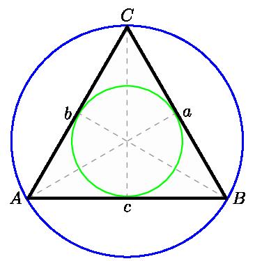 TiKZ 绘制的圆形内接三角形的内接圆