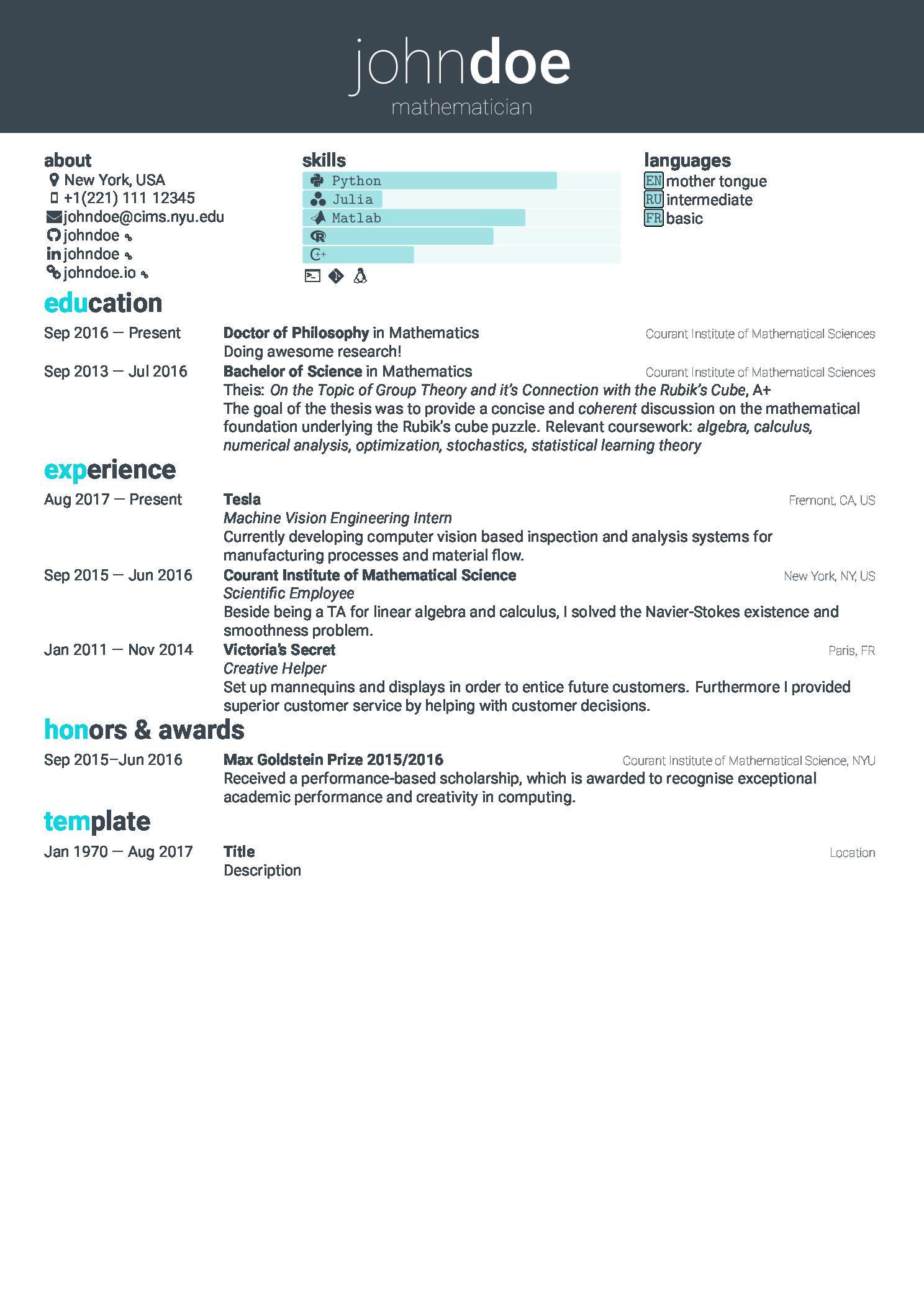 带求职信简洁易用的 LaTeX 简历模板