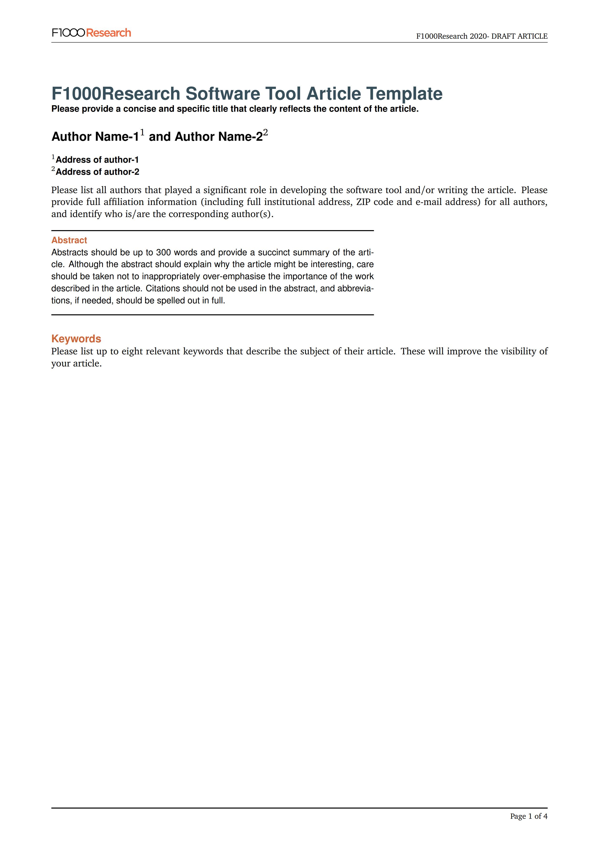 F1000Research 期刊的 LaTeX 投稿模板