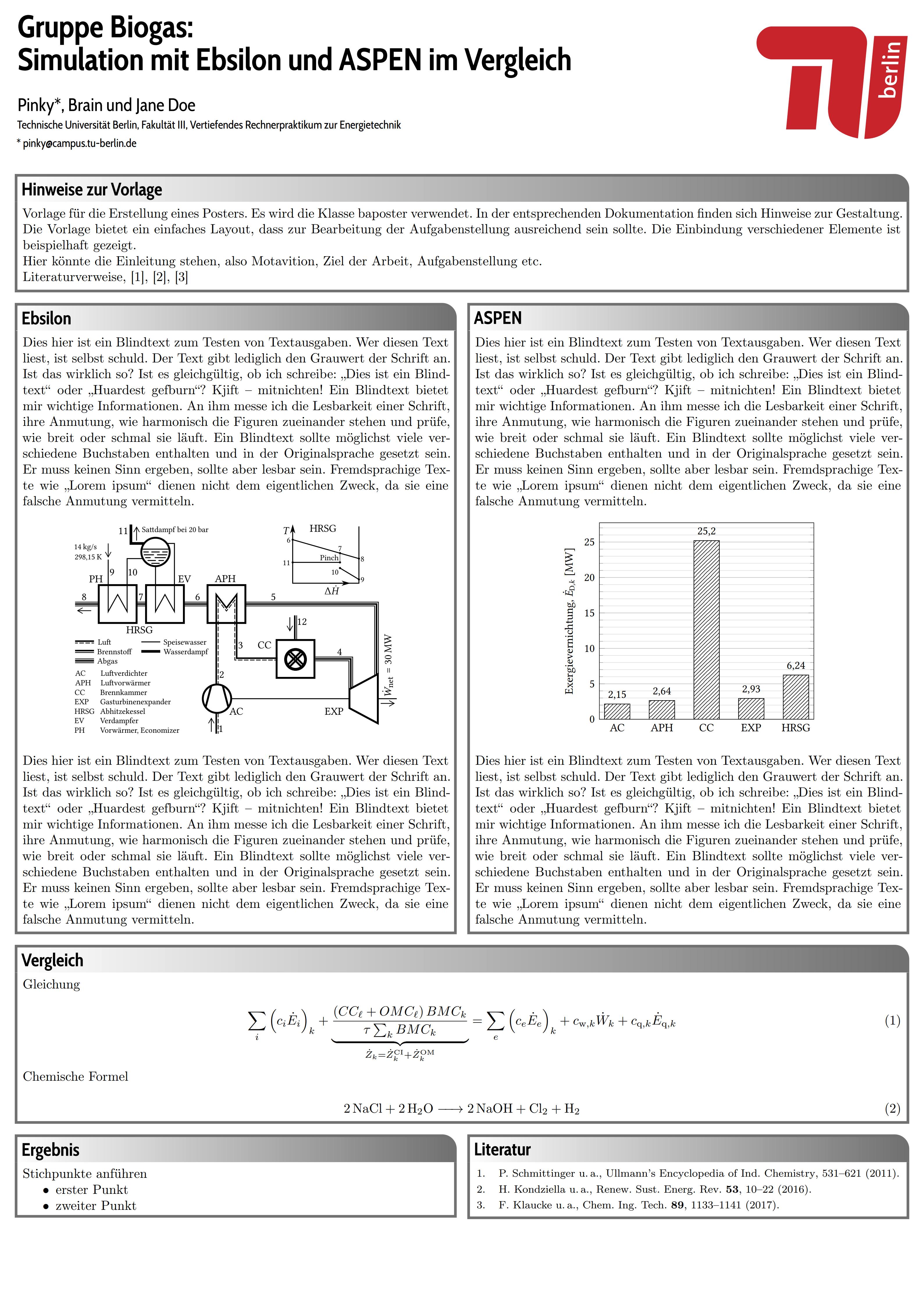 柏林工业大学环境专业课程科学海报模板