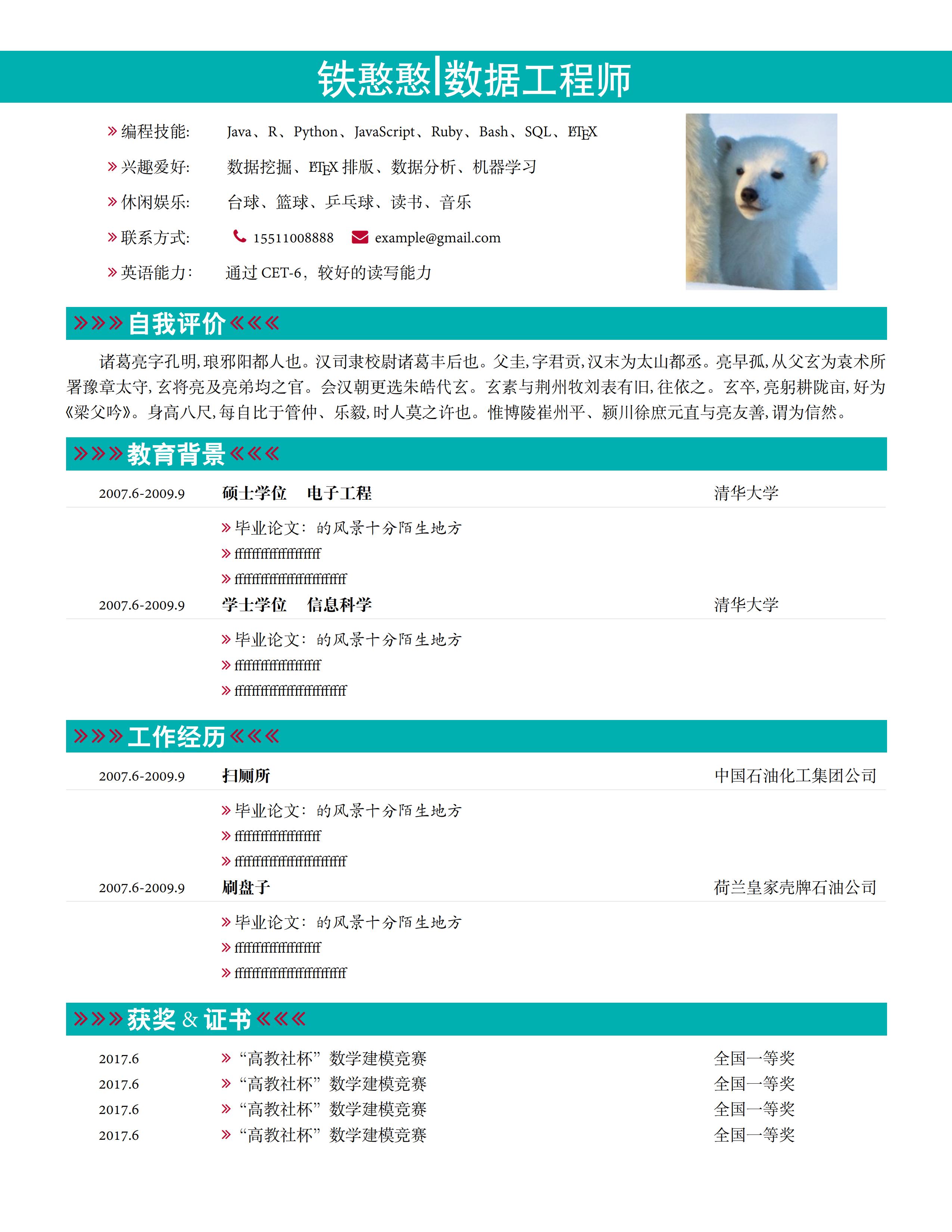 """""""清凉""""配色的单栏中文简历"""