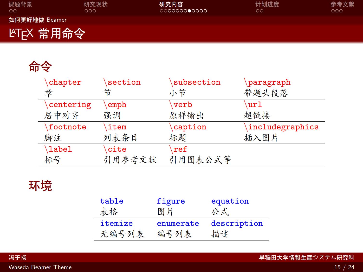 早稻田大学 Beamer 开题报告排版样例
