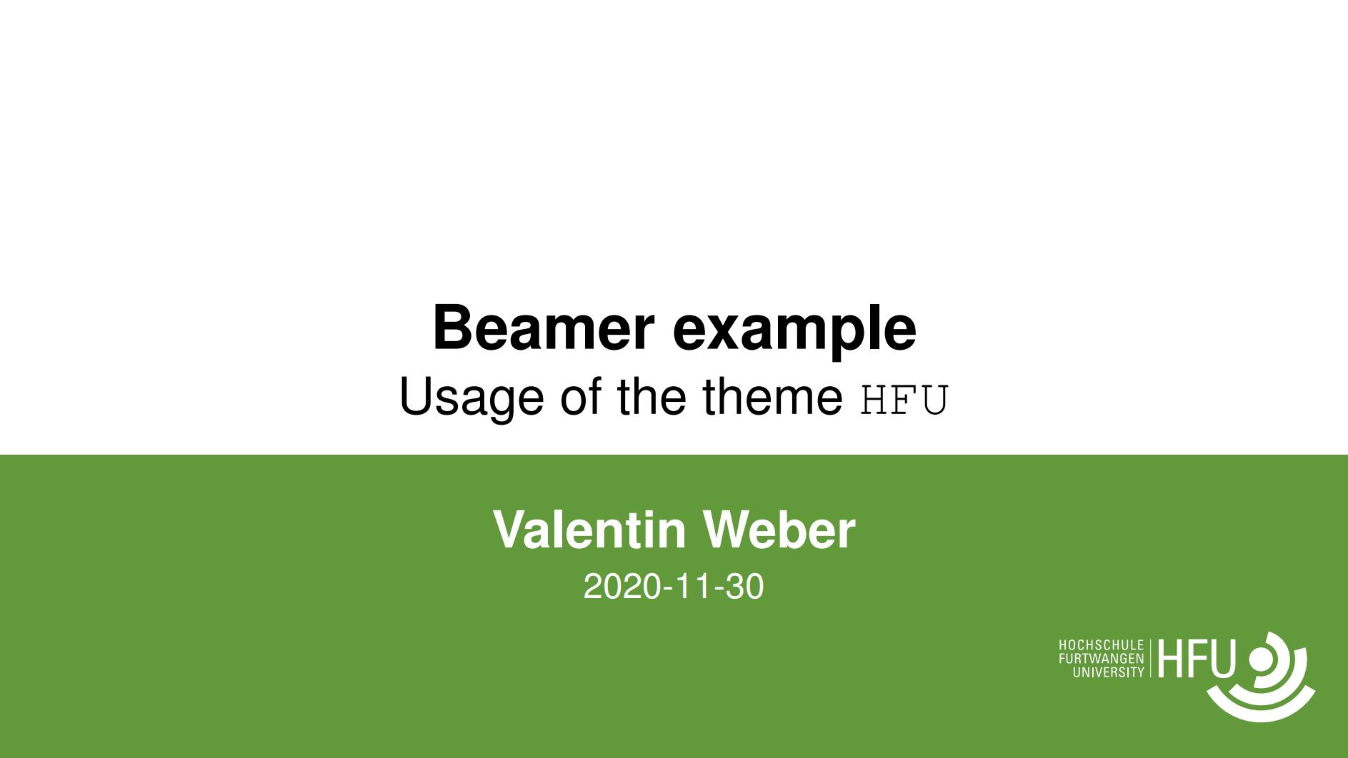 富特旺根应用科学大学(HFU)beamer 主题样式