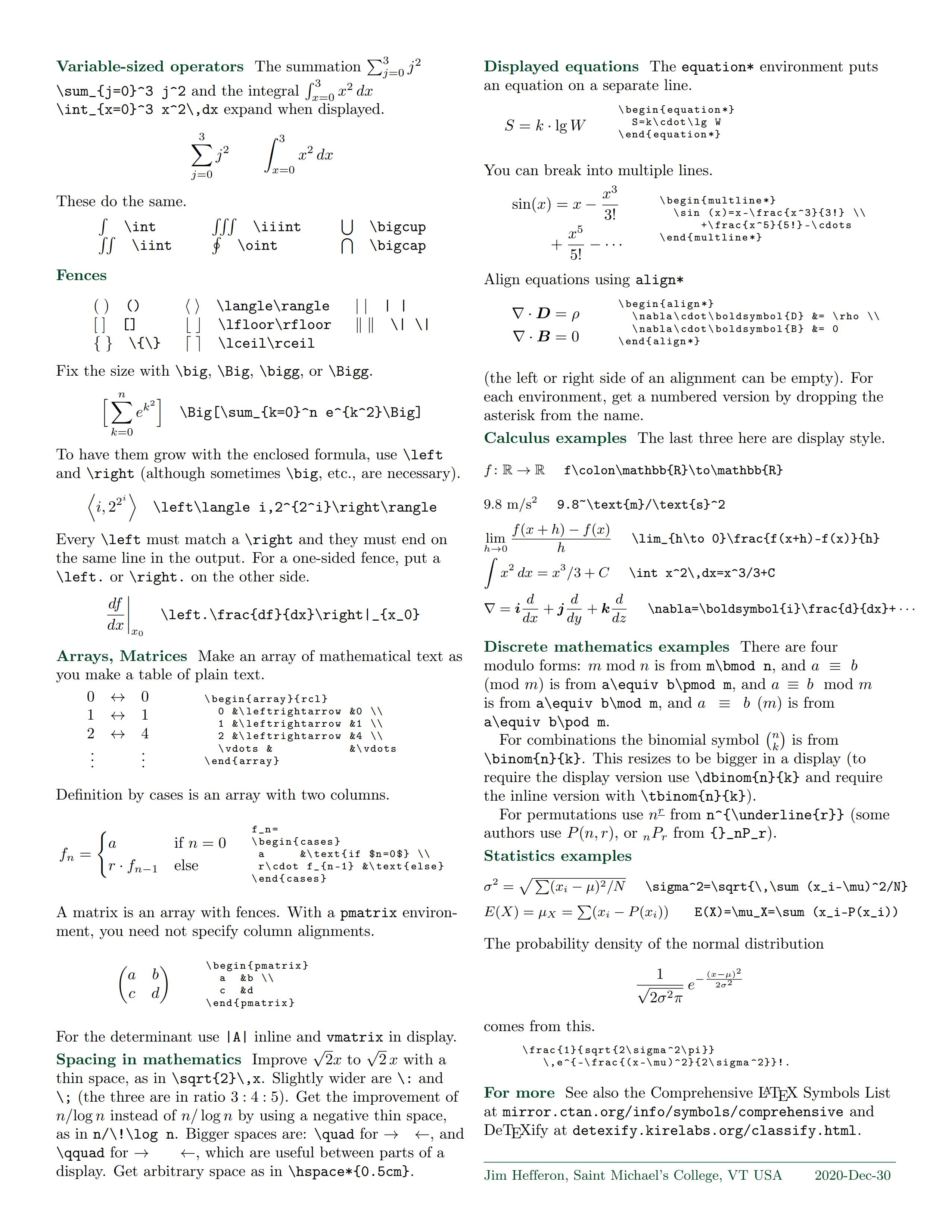 LaTeX 数学公式备忘单