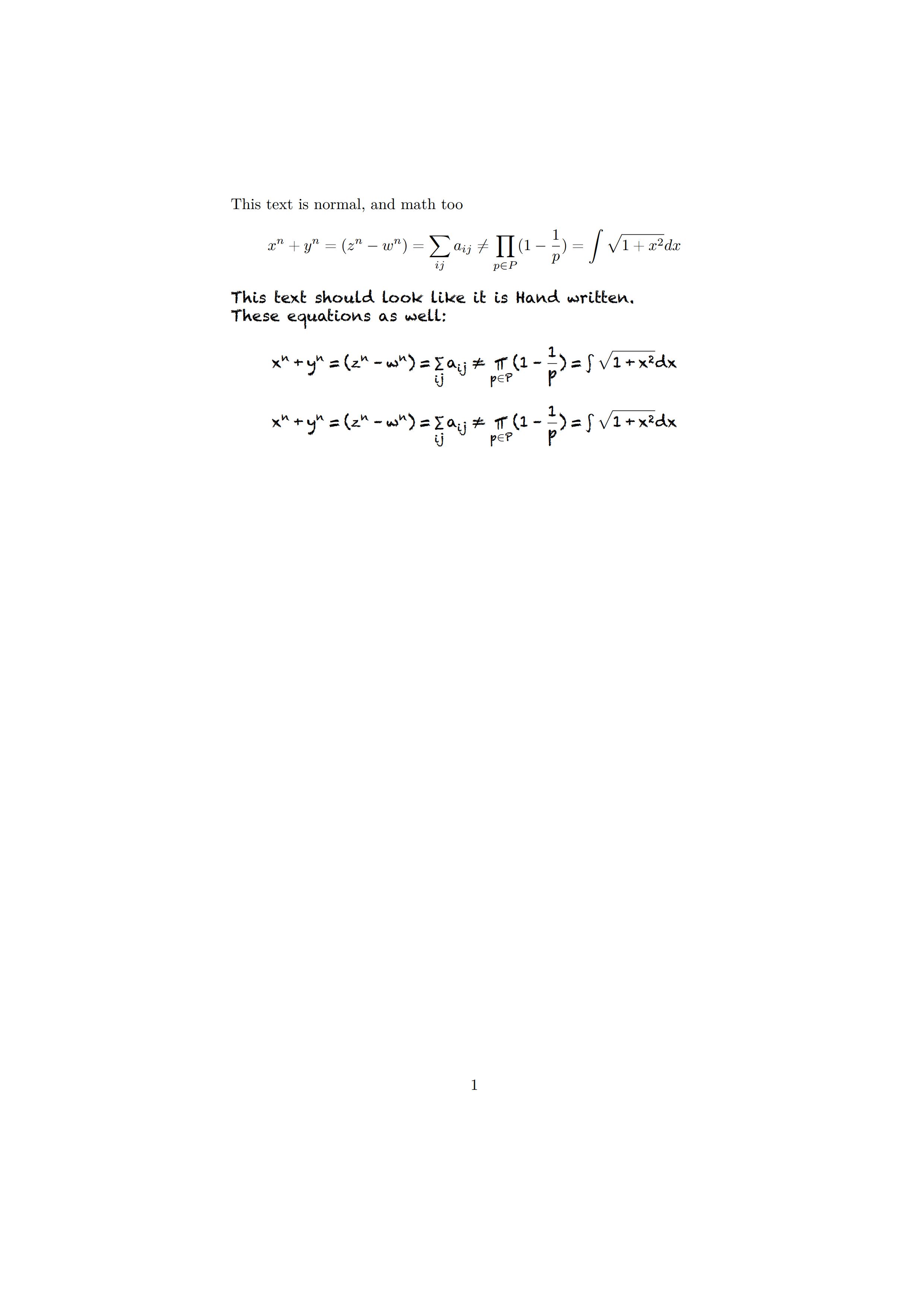 一个手写数学字体的设置样例