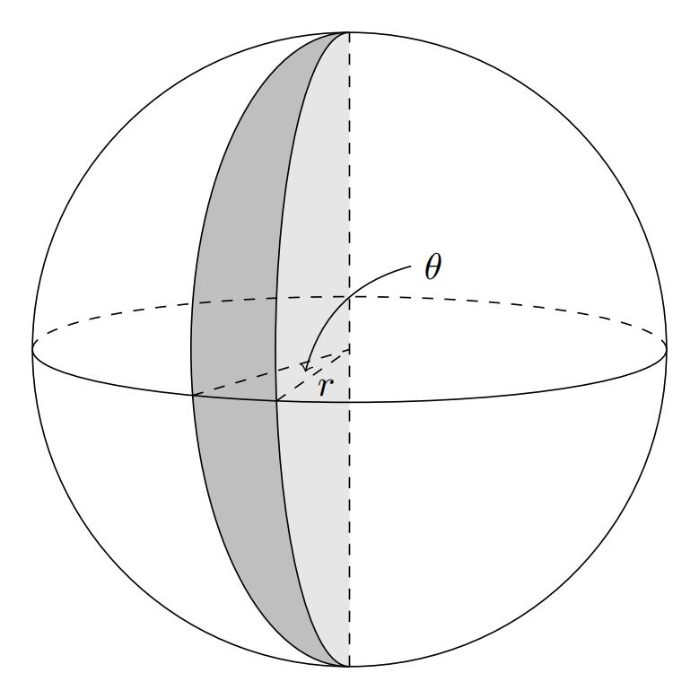 TikZ 绘制球楔 - 即以球面月形为底、两个大圆的半圆面所夹的球体部分
