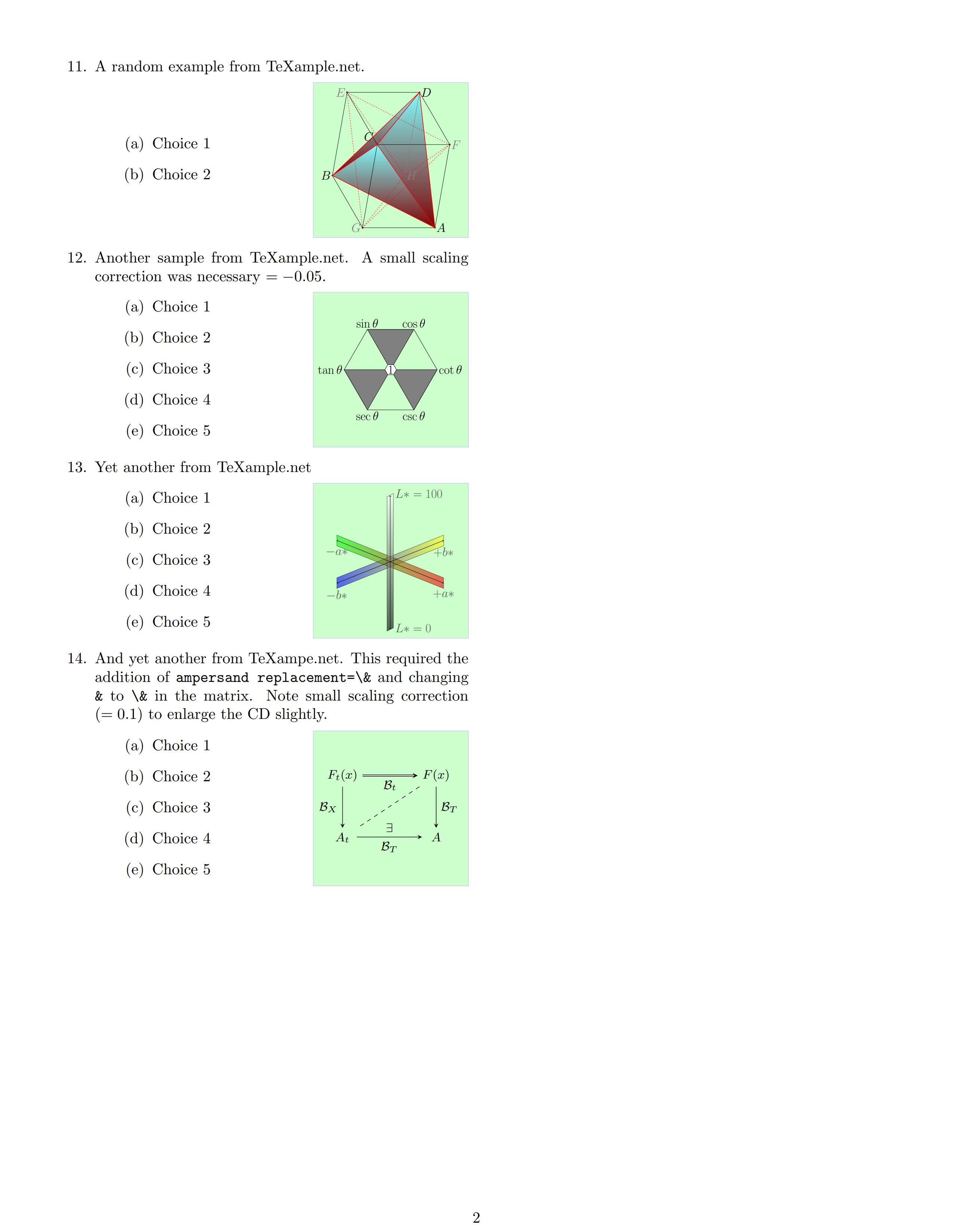 图与题目并存的试题排版样例