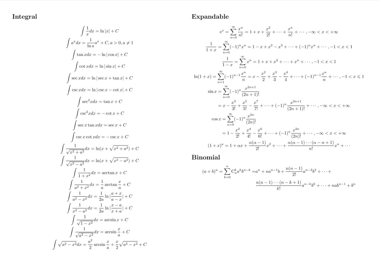 考研数学微积分公式 Calculus CheatSheet