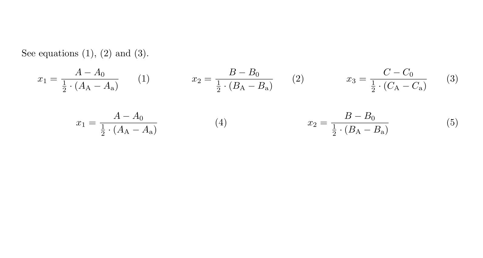 一行内写多个带编号公式的简易实现