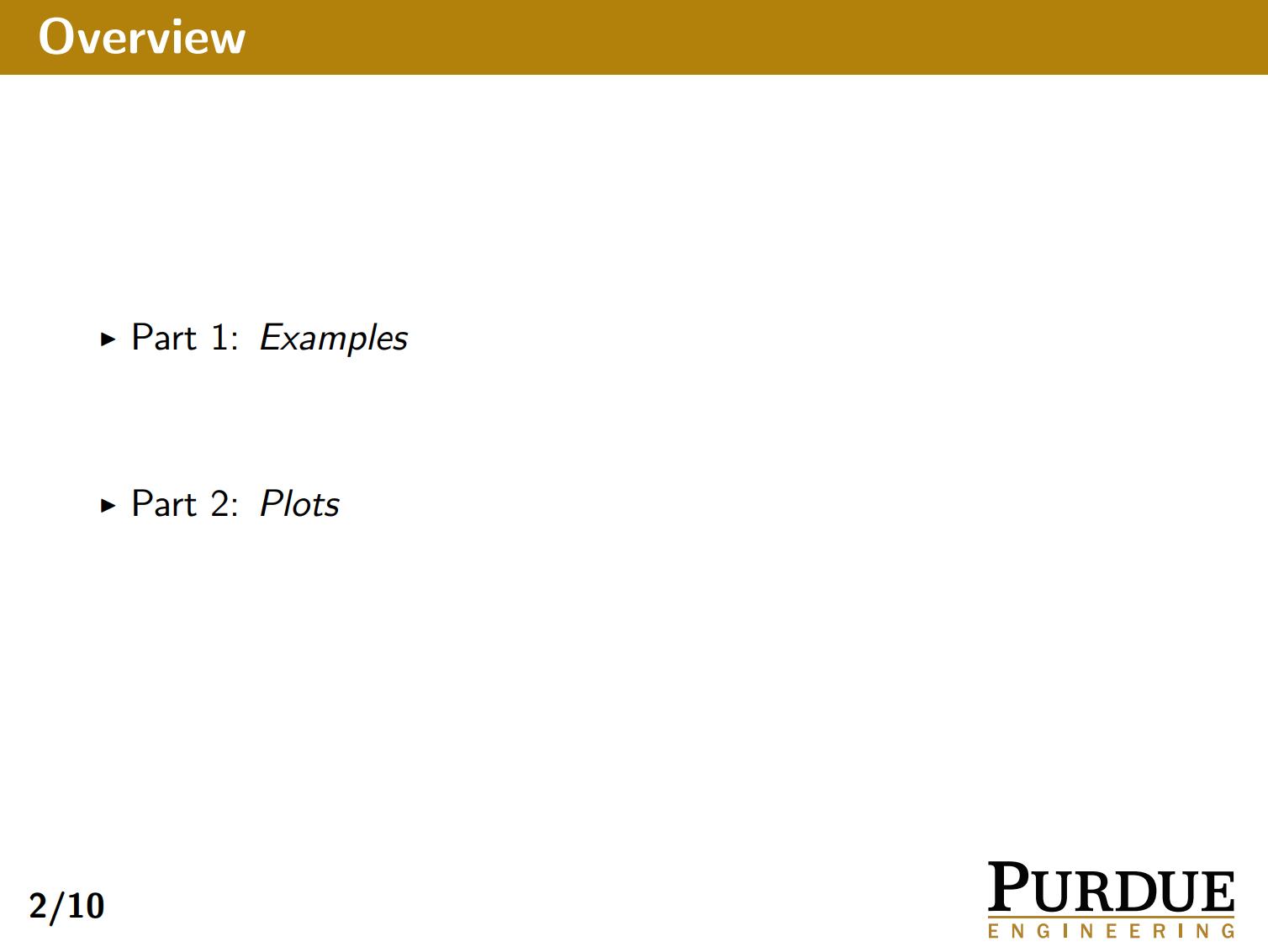 普渡大学的金黄色 beamer 主题样式